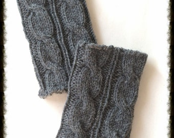 Sale,100% Wool Cable Boot Cuffs -Grey-Ready to ship-Hand crochet,Knitted Boot cuffs, Boot socks, Leg Warmers, Boot Toppers