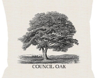 Tulsa Council Oak Tree Pillow Cover