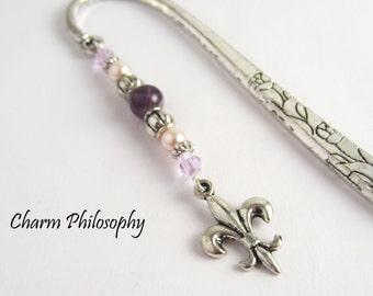 Fleur de Lis Bookmark - Tibetan Silver Beaded Metal Bookmark