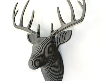 Wood Deer Head - Faux Taxidermy - Gray