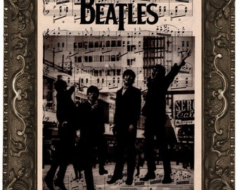 The Beatles - antique upcycled sheet music score book page recycled dictionary fine art print vintage The Beatles