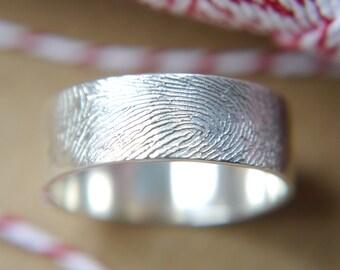 sterling silver fingerprint ring- please scroll down for full details