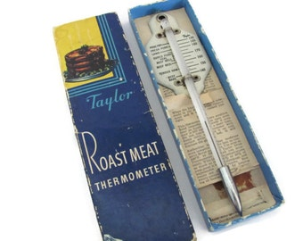 Vintage Meat Thermometer, 1950's Taylor Roast Meat Thermometer, Meat Cooking Guide, Vintage, Mid Century Kitchen