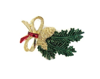 Vintage Christmas Brooch, Pin, 1960's Gerry's Pine Cone Brooch, Pine Branch Brooch, Pin, Holiday, Christmas Jewelry, 1960's Christmas