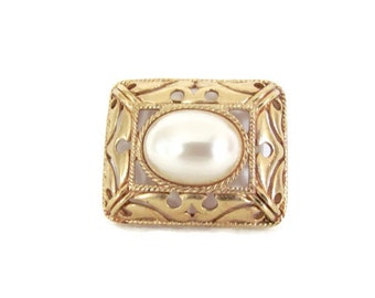 Vintage Pearl Brooch, 1960's Richelieu Gold Square Brooch, Pin, Square with Pearl Brooch, 1960s Brooch, Jewelry