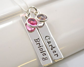 Personalized Mother Necklace | Hand-Stamped Necklace | Two bar Children's Names with Birthstones