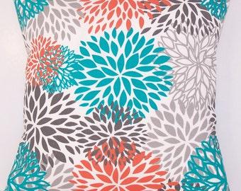 Outdoor Pillow - Turquoise PILLOW - Lumbar - Various Sizes - Turquoise Pillow Cover - Floral - Beach - Accent Pillow - 20x20,18x18,22x22
