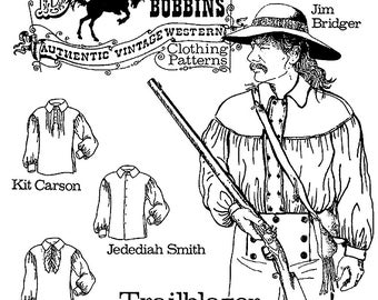 Buckaroo Bobbins Men's Western, Trailblazer Shirt size XS-6X Sewing Pattern 1700's - Civil War era
