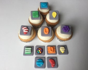 Candy Crush Inspired  Mini Toppers for Cakes & Cupcakes - Made with Delicious White-Chocolate Fondant
