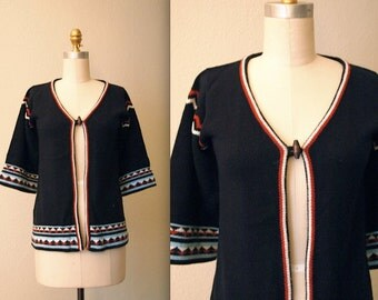 1970s Geometric Southwestern Sweater / Toggle Front Cardigan