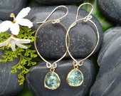 Go Forward: Gold Dangle with Seafoam Green Crackled Glass Accent