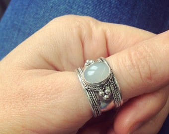 Tibetian vintage Moonstone Gemstone Adjustable ring Bohemian jewelry Gypsy jewelry