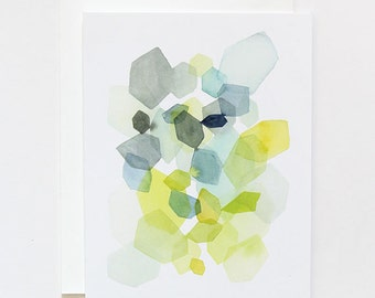 Hexagon in Green & Blue - A2 Greeting Card