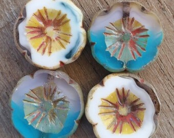 Czech Glass Hawaiian Flower Beads, 14mm, Qty. 4 beads