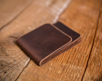 Minimal Front-Pocket Wallet - Horween Chromexcel Wallet in Burgundy