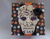 Skull gift box - Day of the Dead - Dia de Muertos - Handmade - paper - Halloween - black - purple - orange - hostess gift - teacher gift