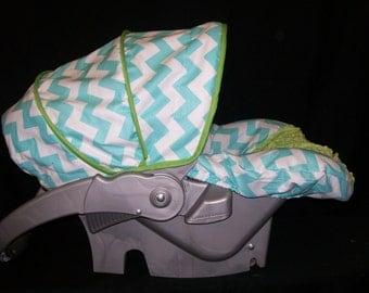 SALE!! - Aqua Chevron with Jade Infant Car Seat Cover