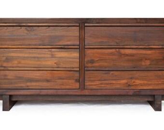 Barnese 6 Drawer Dresser - Handcrafted From Solid Reclaimed Teak Wood - Mid Century Modern Dresser Storage