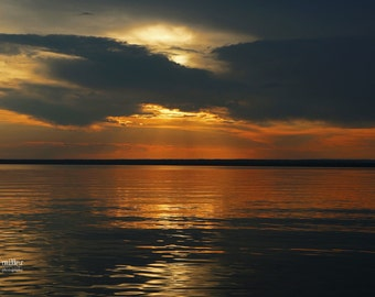 "Fine art photo - title: ""Light Peeks through"" - northern saskatchewan, canadiana, sunset, orange, landscape, lake"