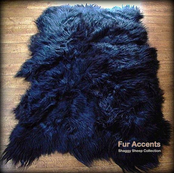 FUR ACCENTS Classic Random Shape Faux Fur Throw Rug By