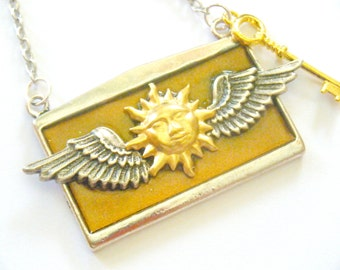OOAK Sun Wings Steampunk Statement Necklace Pendant Celestial Gold Key Silver Copper Recycled Paper Repurposed Material Upcycled Jewelry Art