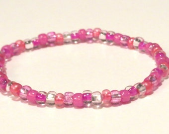 Pink Rainbow Bracelet made from Seed Beads and stretch cord