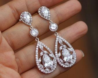 Chandelier Crystal Bridal earrings wedding earring bridemids earring zirconia earring