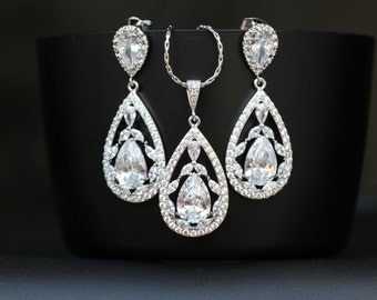 zirconia necklace earring set bridal jewelry set wedding jewelry set bridesmaid gift