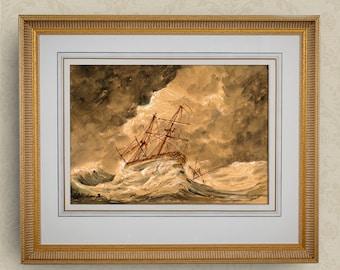 PRINT-Sail ship at storm sea ocean sailing Classic Regatta yacht sail ship watercolor print  - Art Print by Juan Bosco