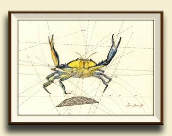 PRINT-Blue Crab decor print watercolor painting art wall  sea seafood fish crab beach   - Art Print by Juan Bosco
