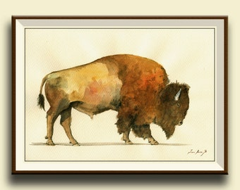 PRINT-Buffalo -American Bison Buffalo forest  portrait - Art Print by Juan Bosco