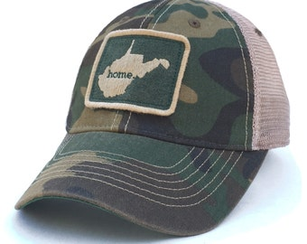West Virginia Home State Vintage Trucker Hat - Camo