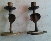 pair of Vintage Brass Cobra Snake Candlestick Holder wiccan witch india decor gothic zz
