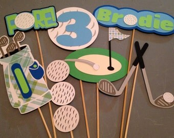 7pc Golf themed centerpiece, Personalized with name and age, Golf birthday party