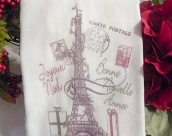 Paris Christmas Towel - Eiffel tower -Tea Towel - Flour Sack Towel - Kitchen towel - Hostess Gift - dish towel - 100% cotton