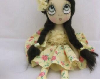 Melinda cloth art doll, shabby chic , sewing pattern , Ooak