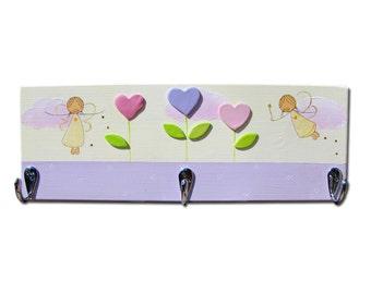 Nursery Peg rack, Kids coat hanger, Towel rack - Fairies and flowers GIRLS coat rack