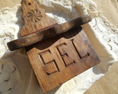 French Salt Box Wall Hanging Rosace Folk Wood Work from Queyras Handmade Salt Carved in French