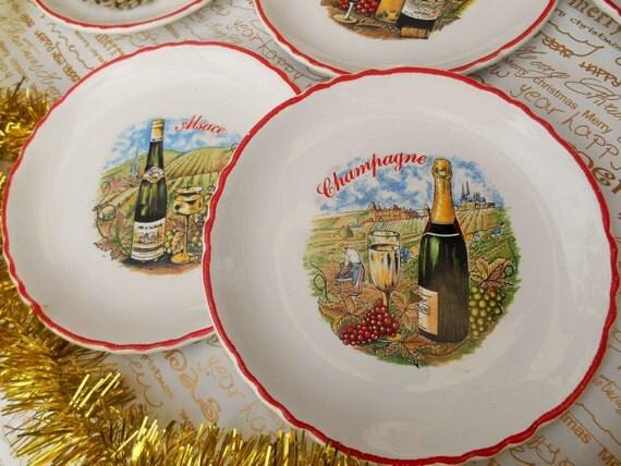 5 French Wine Dessert Plates Moulin des Loups Orchies Porcelain Plates Champagne Vin d'Alsace Bourgogne Bordeaux #SophieLadyDeParis