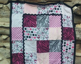Cozy Pink Black and White Baby Quilt