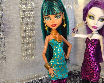Monster Doll 2015 Couture Closet: High Fashion Teal and Gold Mini Dress