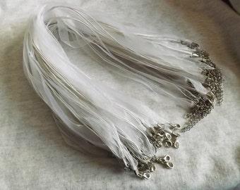 20 pcs White Organza Silk Ribbon Cord Necklace White cord necklace