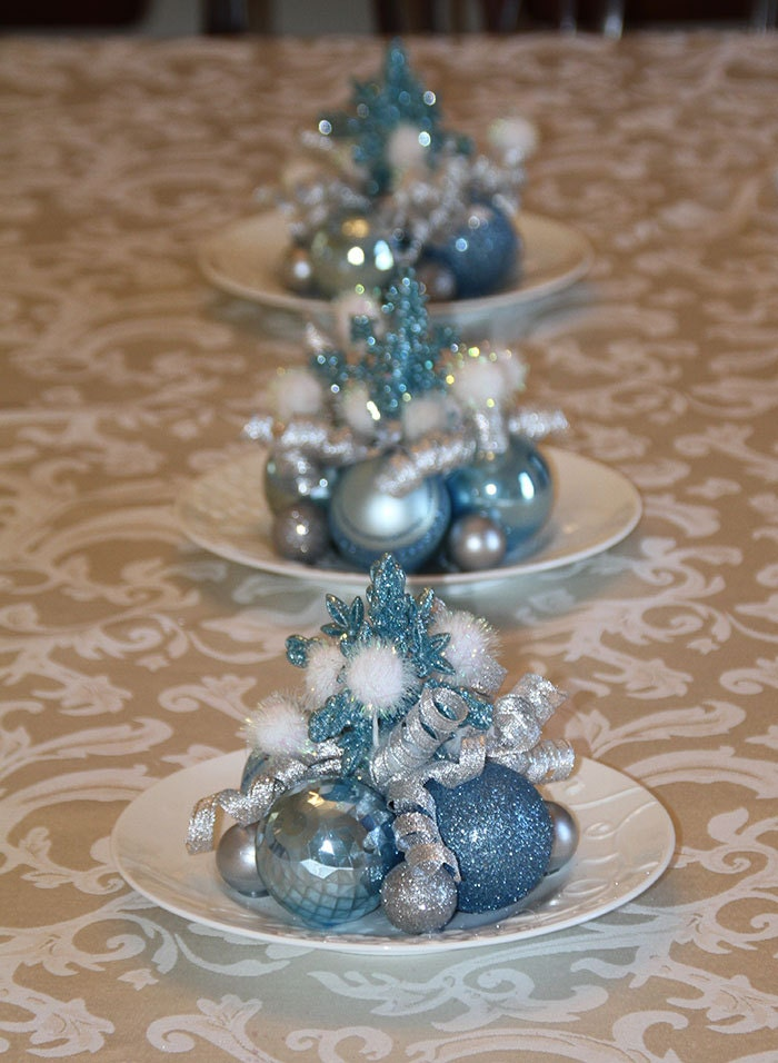 Christmas centerpieces set of three light blue silver and