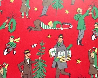 Vintage Christmas Gift Wrapping Paper - Tis the Season, Helpful Men and Boys - For Him - 1 Unused Full Sheet Christmas Gift Wrap
