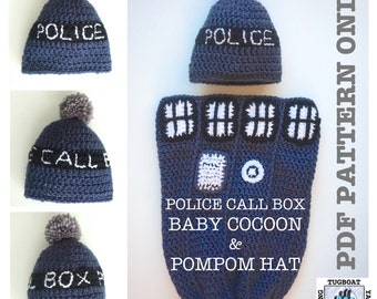 PDF PATTERN - Police Call Box Baby Cocoon and PomPom Hat - 0-3 Month Sizing