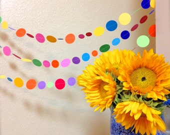 Paper Garland 10 ft, Fiesta Colors, Fiesta Garland, Birthday Party Decoration, Mexican Holiday Garland, Paper Bunting G3