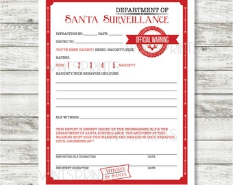 Letter Size** 8.5 x 11 Elf Warning, Warning from Santa, Printable ...