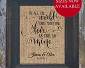 A Love as True as Mine Wedding Fancy Scroll Personalized Burlap LOVE SONG Art Wedding Anniversary house warming gift