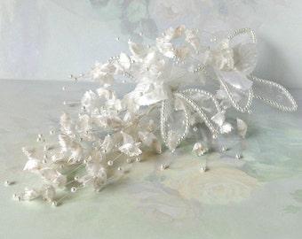 Vintage Millinery, White Satin Floral Spray, Beaded, Organza, Wedding, Hairpiece, Bridal