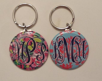 Monogram Keychain You design, 2 fonts avail, Lily P inspiried